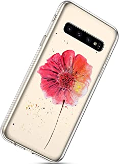 Herbests Coque Galaxy S10 Silicone Transparent Etui,Ultra Mince Housse avec Motif Ultra Fine Slim Case Cover pour Femme Homme Anti Choc Crystal Clear Gel TPU Caoutchouc Bumper Protection,Couleur