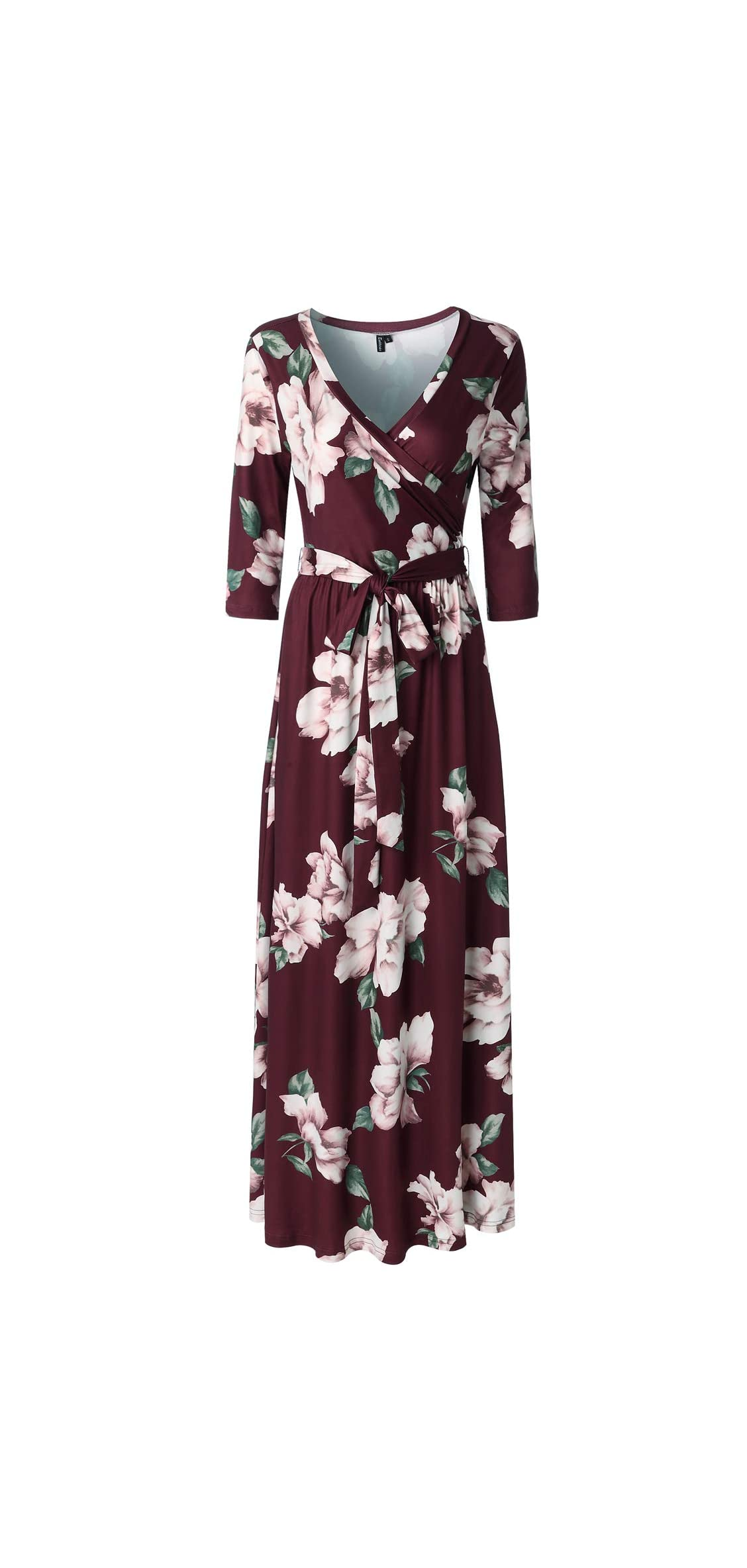 Womens / Sleeve Floral Print Faux Wrap Long Maxi Dress