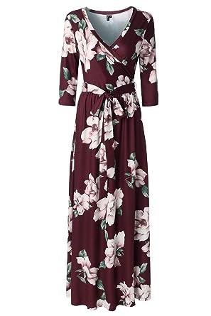1da2bd5f20 Zattcas Womens 3 4 Sleeve Floral Print Faux Wrap Long Maxi Dress Belt  (Medium
