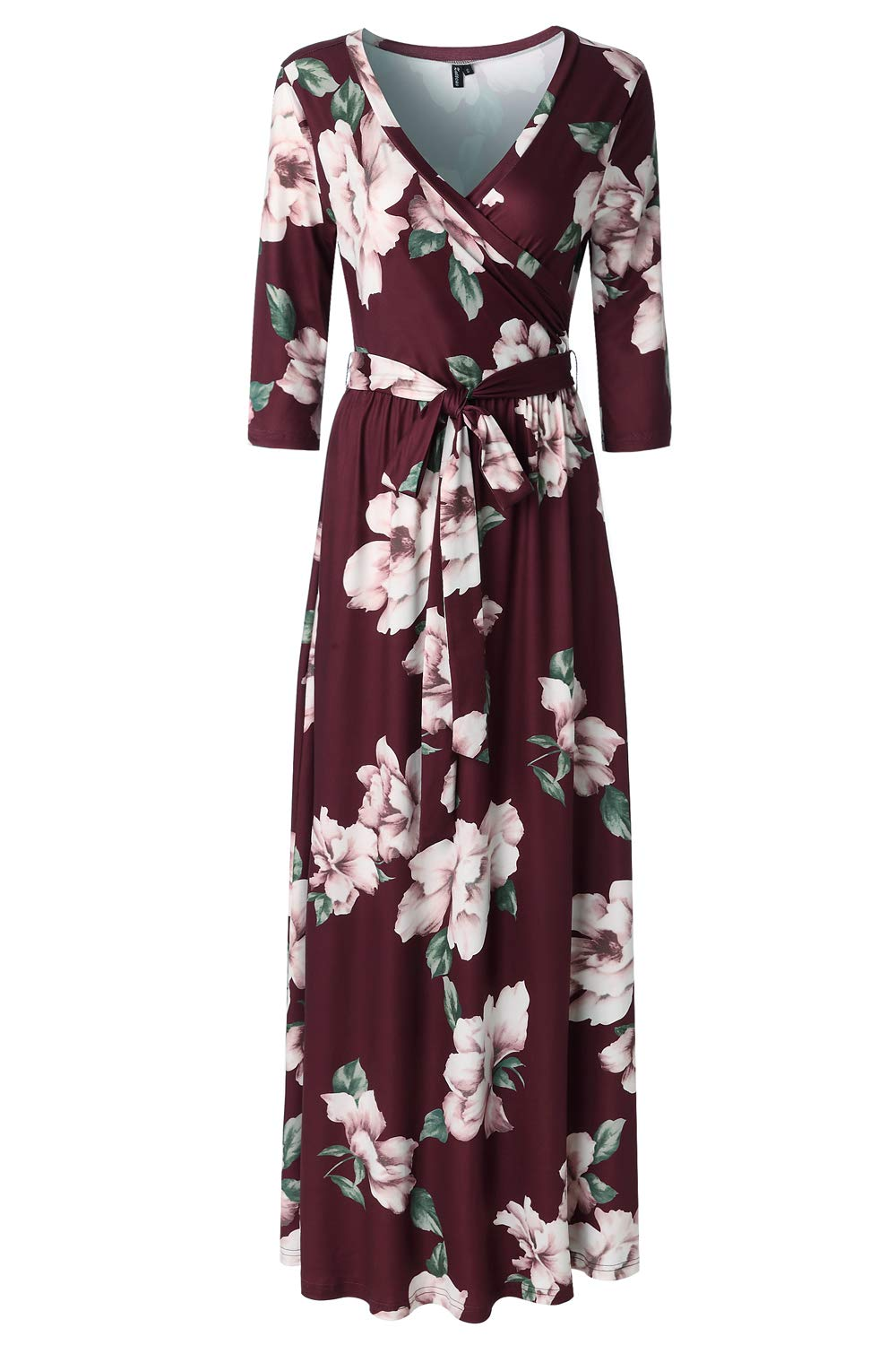Zattcas Womens 3/4 Sleeve Floral Print Faux Wrap Long Maxi Dress with Belt (X-Large, Wine Red)