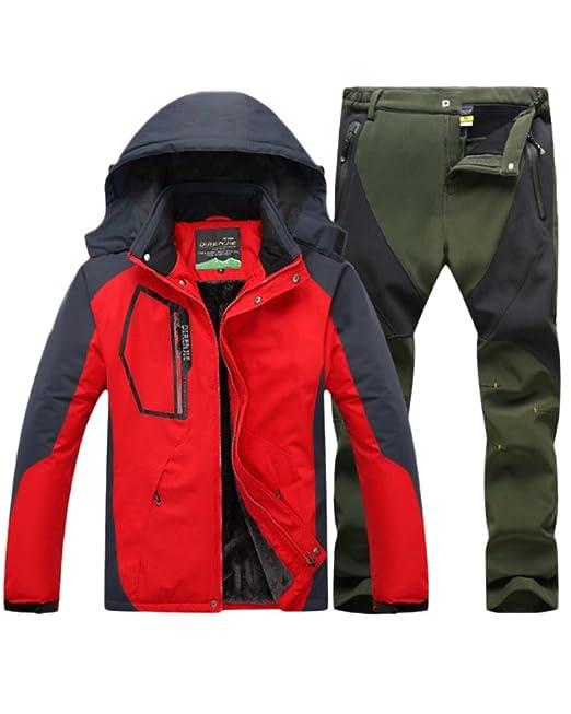 Qitun Hombre de Trekking Impermeable Deportivos Transpirable Pantalones Chaqueta de Esquí Impermeable Chaqueta de Nieve Excursionismo Conjunto Rojo A