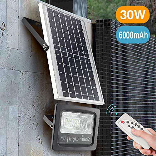 30W LED Solar Flood Lights Outdoor, Dusk to Dawn Solar Powered Street Light with Remote Control, 800 Lumen, IP67 Waterproof, Perfect for Yard, Garden, Garage, Pathway, Barn, Street (Warm White) (0utdoor Lighting)