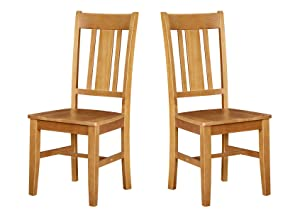 "Ravenna Home Classic-Style Solid Pine Dining Chair, 40""H, Honey Pine Finish, Set of 2"