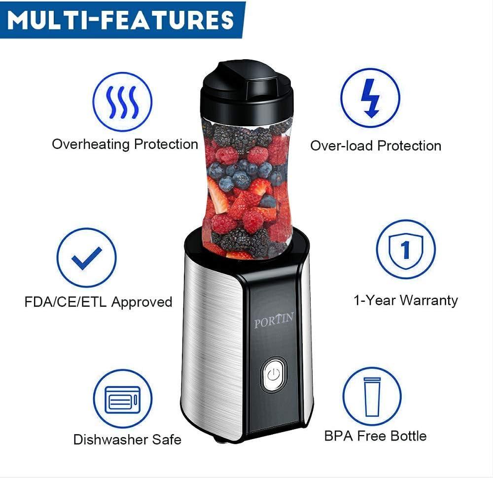 portin Mini batidora, licuadora 300 W Smoothie maker 300 ml/600 ml ...