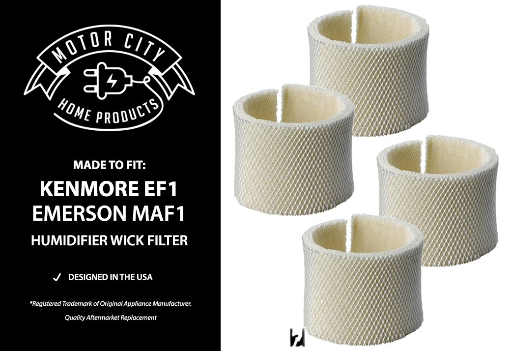 Kenmore EF1 and Emerson MAF1 Compatible Humidifier Wick Filter Motor City Home Products Brand Replacement (4)