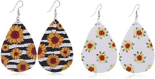 Wildflower Floral Teardrop Leather Earrings.