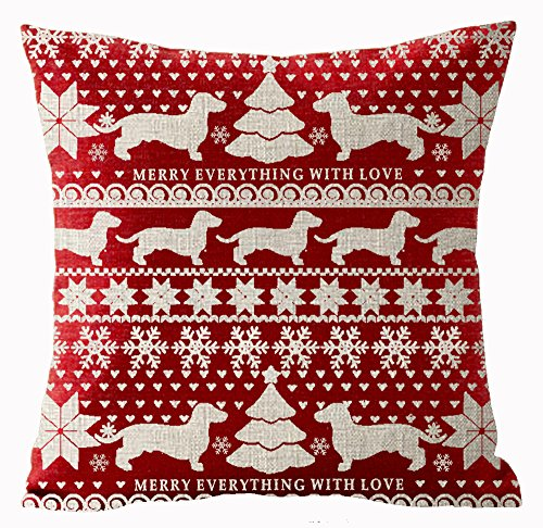 Andreannie Bohemian Style Beige Ivory Christmas Tree Dachshund Snowflake Merry Everything in Red Merry Cotton Linen Throw Pillow Case Cushion Cover Home Office Decorative Square 18 X 18 Inches