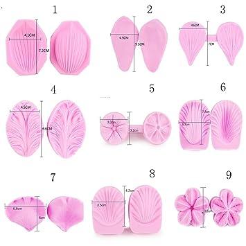 GZD Flores Kit de hornear Rosas Gerbera Flores pequeñas Peonía Molde Molde de pétalos Molde de silicona 9 juegos de trajes: Amazon.es: Hogar