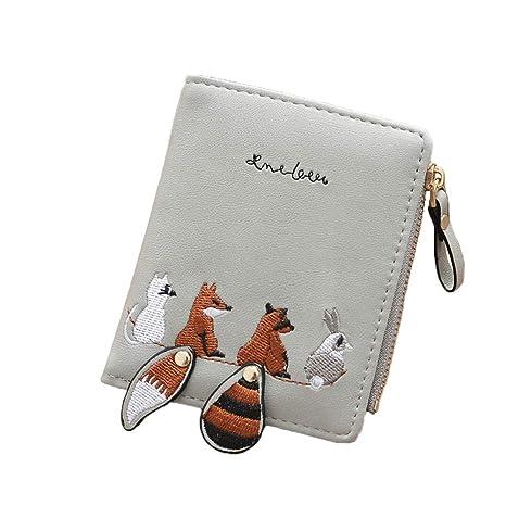 Fansi 1 PC Moda Mujer Cartera Creativa Cute Fox Conejo Impresión Colgante Plegable Cartera PU con
