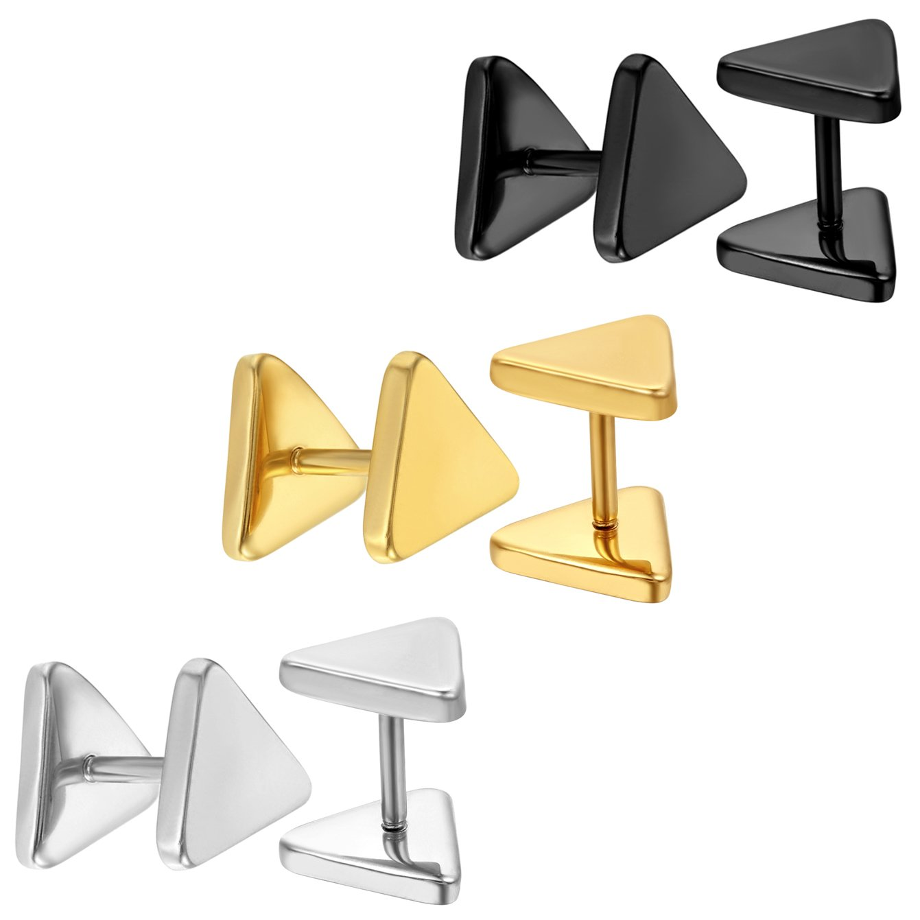 Aroncent Jewelry Stainless Steel Men Stud Earrings for Women Cool Ear Piercing Plugs Triangle Tunnel 18G arnfr-0348
