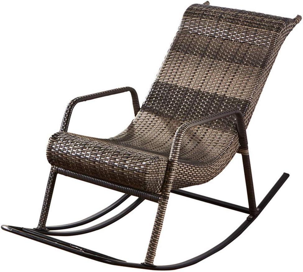 ガーデン用チェア・ベンチ ロッキングチェア ナチュラルラタンチェア スタイリッシュなラウンジチェア オールドマンバックロッカー 屋外バルコニーのゆったりとした椅子 ガーデンロッキングチェア 強い耐荷重性 (Color : Black)
