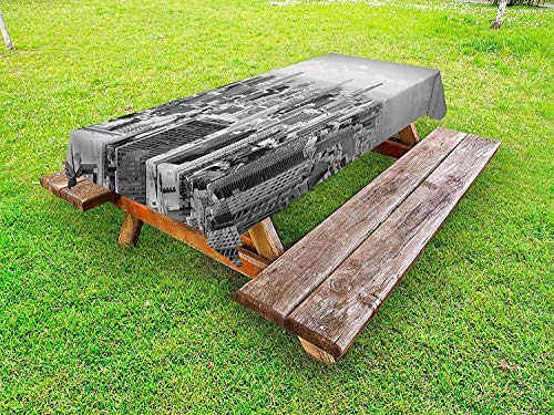Lohebhuic USA Outdoor Tablecloth Chicago City Skyline Aerial View Contemporary Famous Touristic Places Picture Print Decorative Washable Picnic Table Cloth,49.92