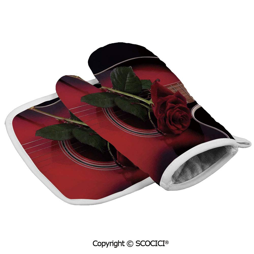 SCOCICI Oven Mitts Glove - Spanish Musician Portugal Hand Made Guitar with Romance Theme Love Heat Resistant, Handle Hot Oven Cooking Items Safely