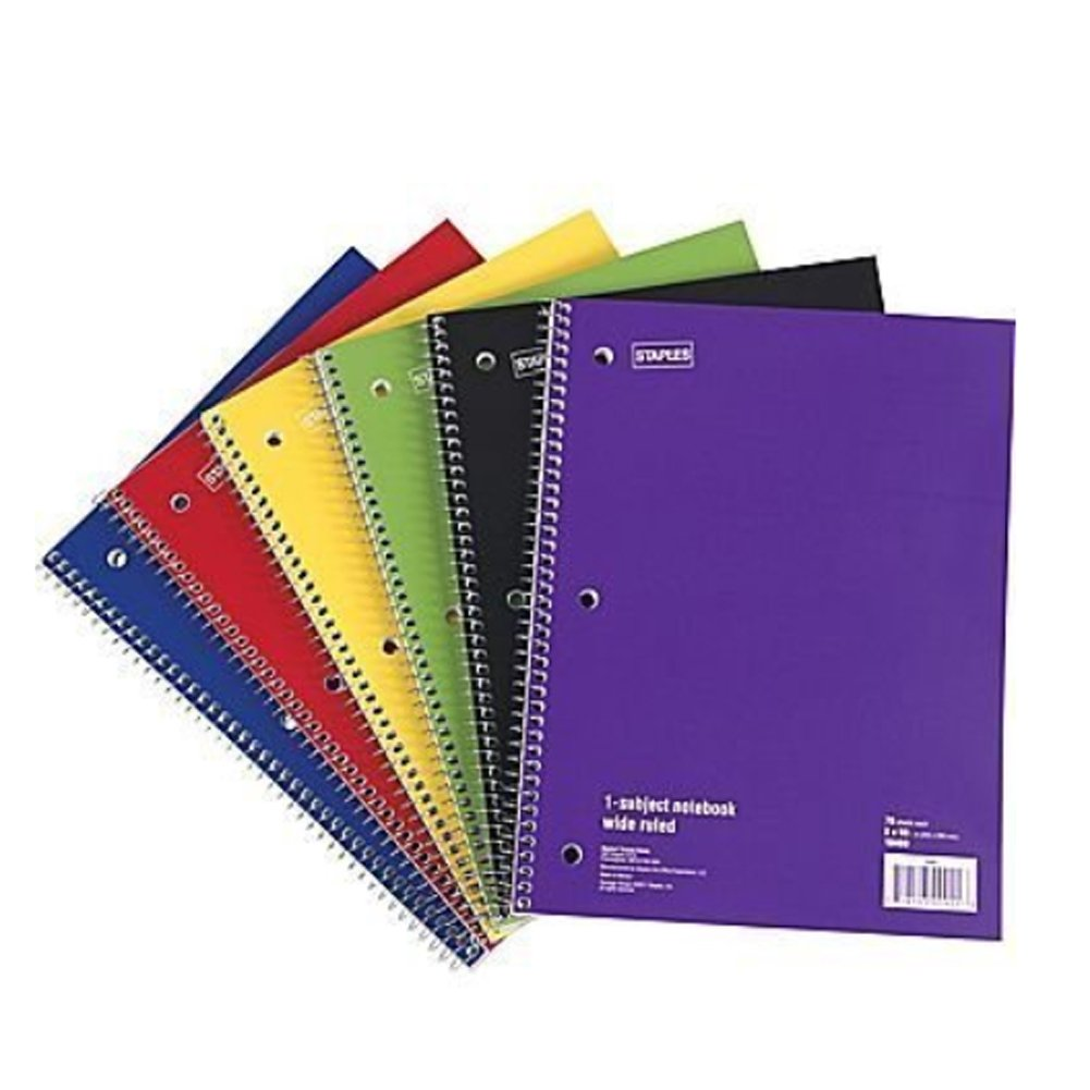 0245397628f4 Staples Spiral Notebook 1-subject, 70-count, Wide Ruled, Assorted Colors,  (12 Pack)