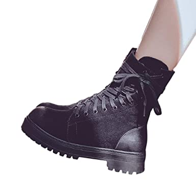 ddb6fd64c99 Amazon.com  Gyoume Women Lace Up Boots Shoes Combat Boot Shoes Ladies Boots  Shoes Outdoor Boots  Clothing
