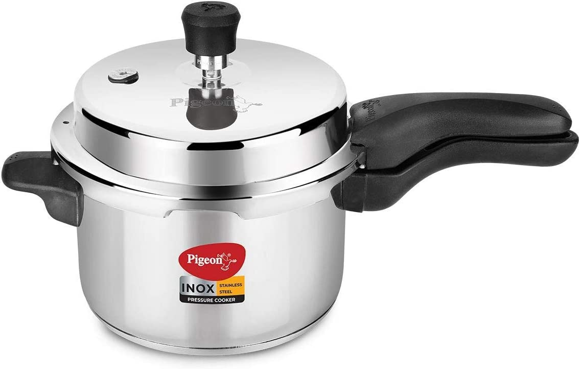 Pigeon - Inox Stainless Steel Outer Lid Induction Base Pressure Cooker - Cook delicious food in less time: soups, rice, legumes, and more - 3 Liter