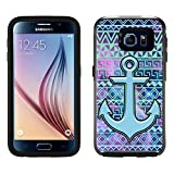 Skin Decal for OtterBox Symmetry Samsung Galaxy S6 Case - Anchor on Aztec Andes Green Turquoise Tribal Nebula