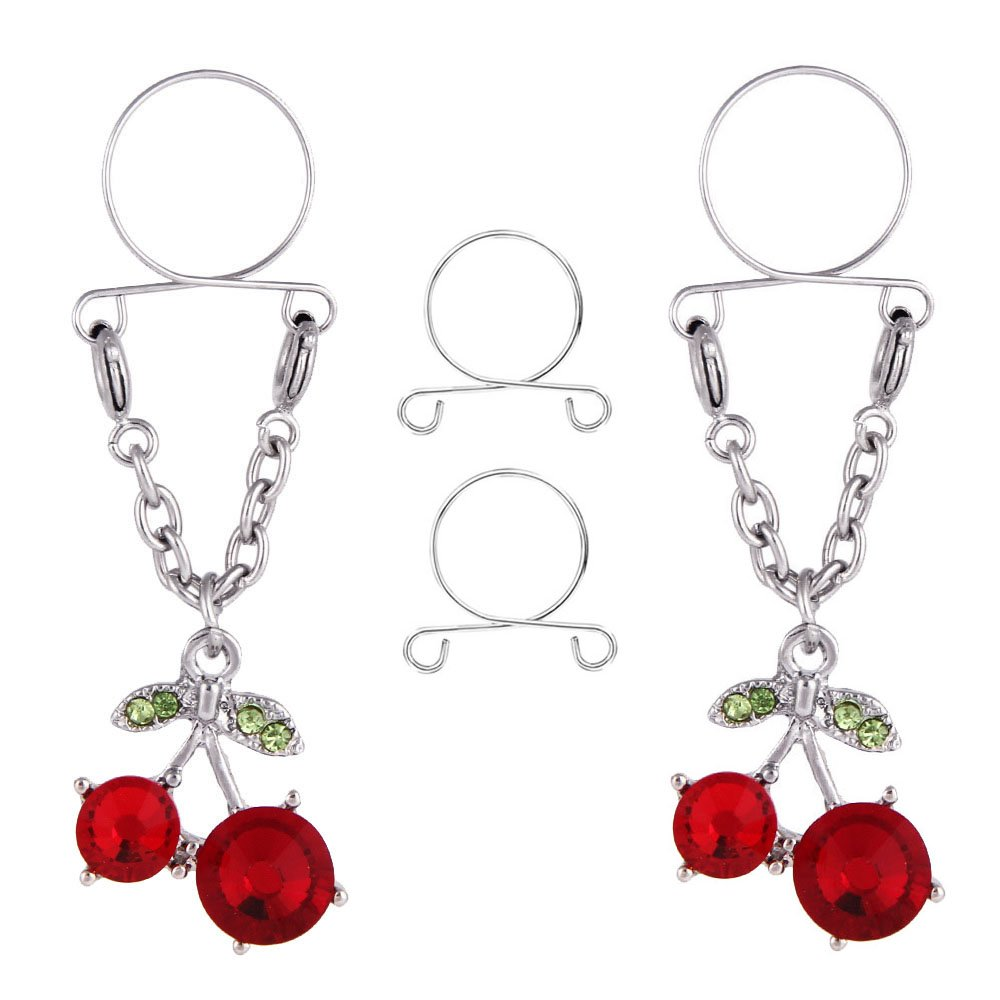 CrazyPiercing 1Pair Surgical Steel Faux Crystal Clip on Non-Pierce Fake Nipple Ring Piercing GYJ-2PCherryNippleRingRE