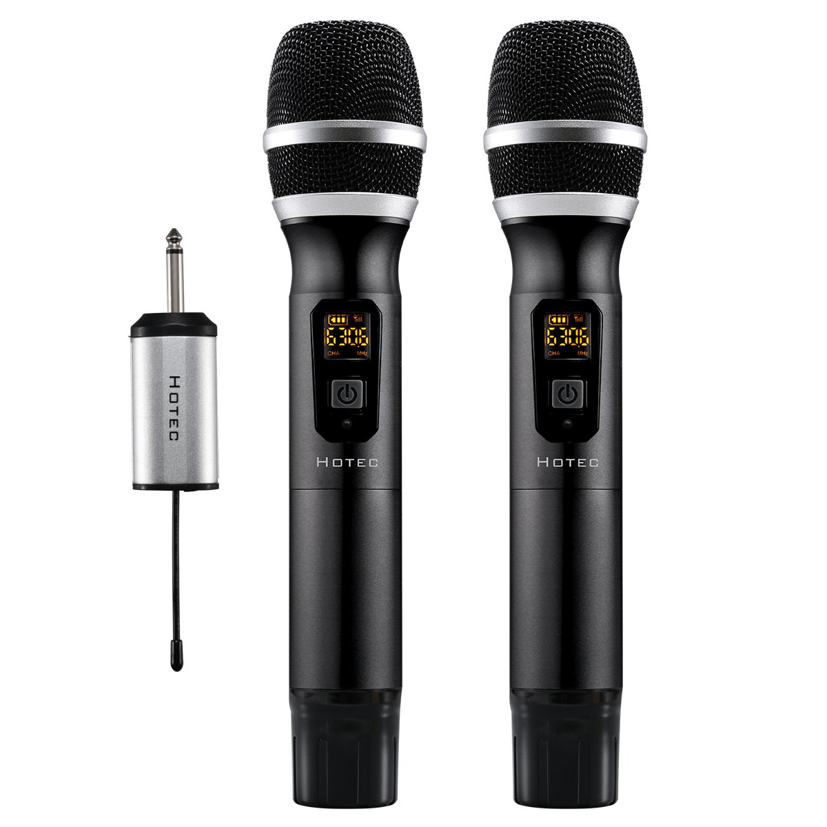 Hotec 25 Channel UHF Wireless Microphone Dual Microphone with Mini Portable Receiver 1/4'' Output, For Church/Home / Karaoke/Business Meeting (Dual mic)
