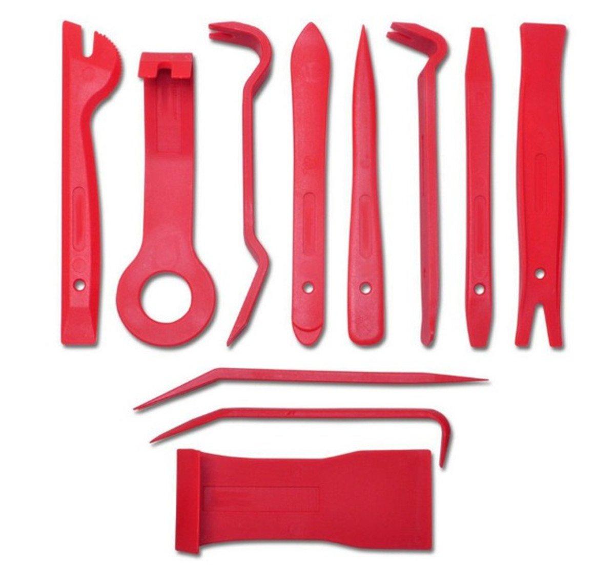 BININBOX 11Pcs Set Auto Door Clip Panel Trim Removal Tool Kits Window Molding Upholstery For Car Interior Dash Radio Audio Installer Pry (Plastic Bag)
