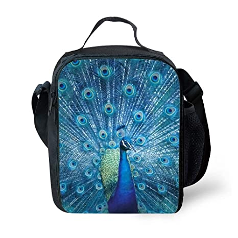 284ff92eb5b7 Amazon.com: SARA NELL Kids Lunch Box Insulated Opening Peacock Lunch ...