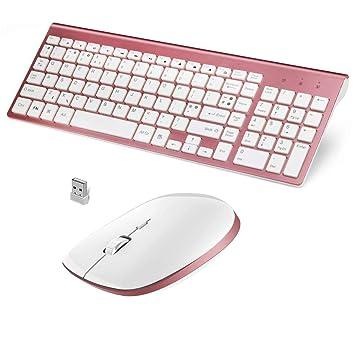 Zmsdt Juego De Teclado Y Mouse Ergonómicos Inalámbricos Teclado Portátil 2.4G Windows 7 8 10 Os XP Teclado Y Mouse: Amazon.es: Electrónica
