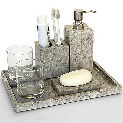 Portasapone Bagno In Ceramica.Set Di Accessori Da Bagno Di 8 Pezzi Con Portasapone E