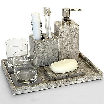 Badezimmer-Zubehör-Set von 8 Stück enthält Seifenspender ...