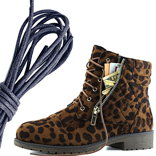 DailyShoes Womens Military Lace Up Buckle Combat Boots Ankle High Exclusive Credit Card Pocket, Navy Wild Leopard
