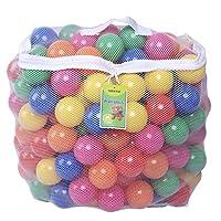 Click N 'Play Pack de 200 bolas de plástico a prueba de aplastamiento, sin BPA, libre de ftalatos, bolas de foso - 6 colores brillantes en una bolsa de malla de almacenamiento reutilizable y duradera con cremallera
