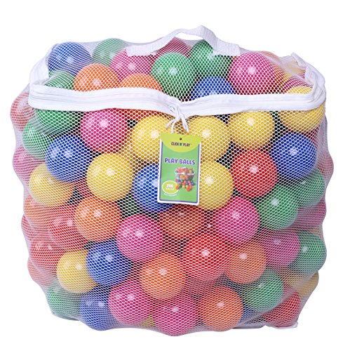 Click N' Play Pack of 200 Phthalate Free BPA Free Crush Proof Plastic Ball, Pit Balls - 6 Bright Colors in Reusable and Durable Storage Mesh Bag with Zipper ()