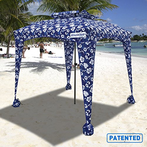EasyGO Products Beach Umbrella & Sports Cabana, Blue Flowers, 6' x 6'