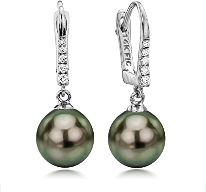 AAA round saltwater black pearls: Simply Adorned Tahitian pearl earrings solid 14k white gold white topaz diamond like gemstones