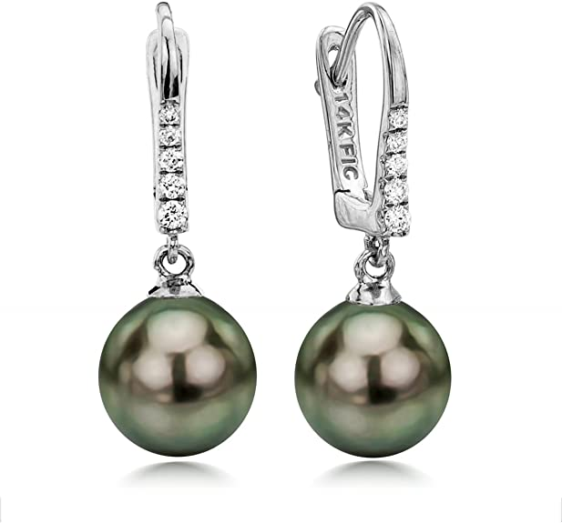 stunning A pair of natural 11-12mm tahitian black pearl earring 14K yellow Gold