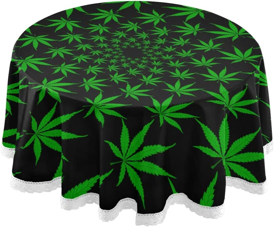 Amazon Com Round Banquet Tablecloth Green Marijuana Leaves Vector Cannabis Fabric Tablecloth 60 Inch Lace Stitching Macrame Polyester Decoration Home Kitchen