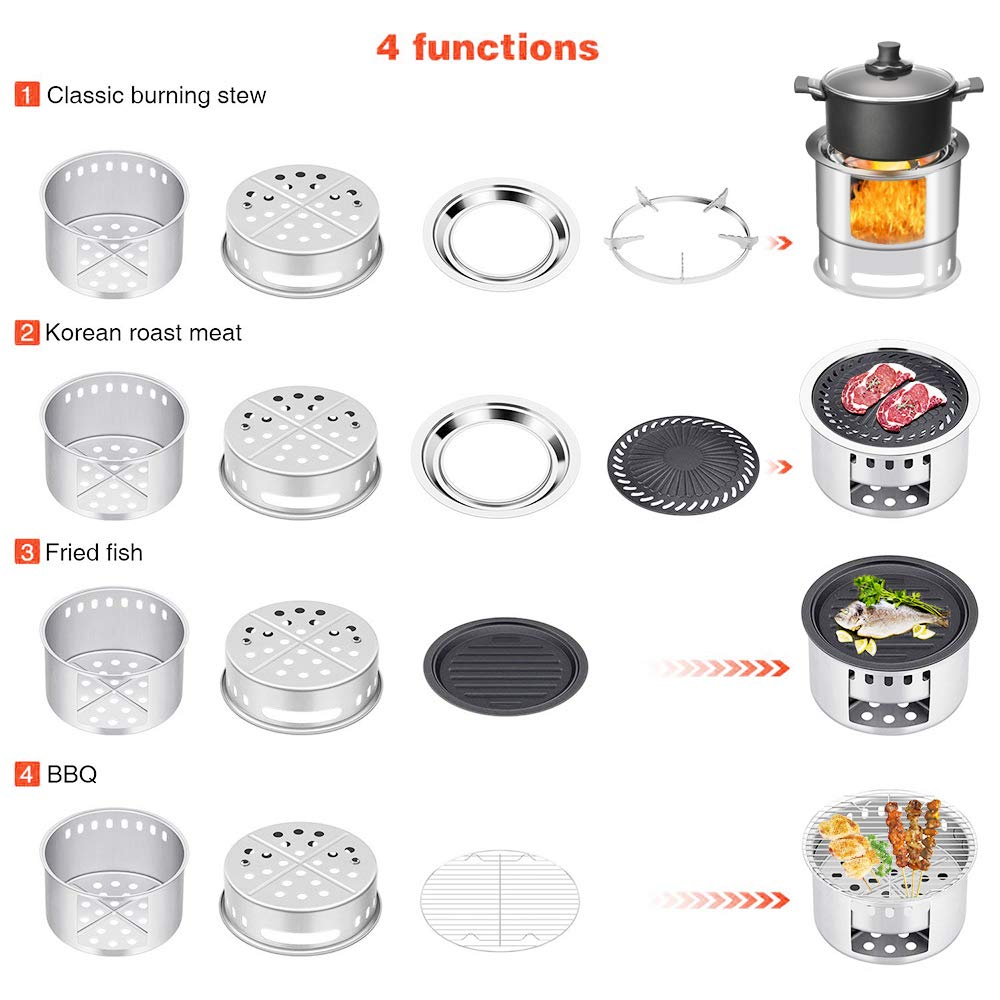 KINDEN Wood Camping Stove Bonfire Fire Pit 5 in 1 Multifunction Wood Burning Camp Stove Windproof for Outdoor Traveling Picnic BBQ Fishing Car Camping Backyards Patio Festival