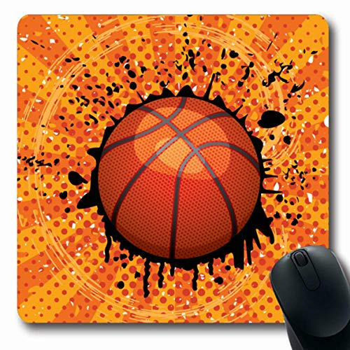 Ahawoso Mousepad Oblong 7.9x9.8 Inches Light Orange Pattern Basket Ball Basketball Sports Activity Recreation Hoop Abstract Fun Athletics Office Computer Laptop Notebook Mouse Pad,Non-Slip - Hoop Abstract