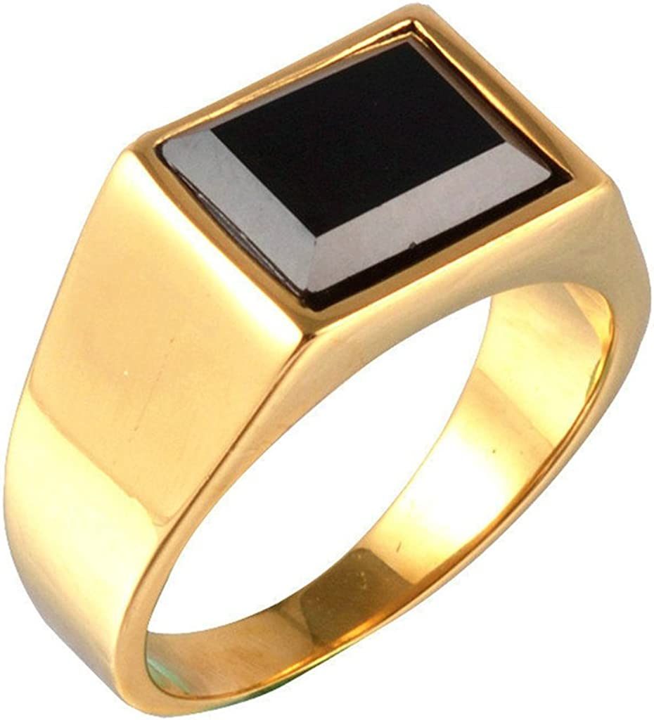 Aooaz Mens Stainless Steel Ring Gold Plated Retro Black Stone Ring Rectangular Vintage Wedding Band
