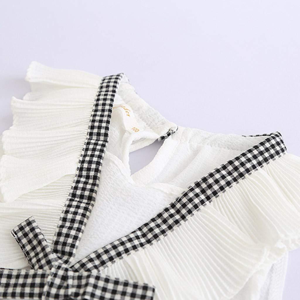 Plaid Shorts Hosen Sets Anzug 1-6 Jahre ShangSRS Baby M/ädchen Outfits Kleidung Bowknot Weste Tops