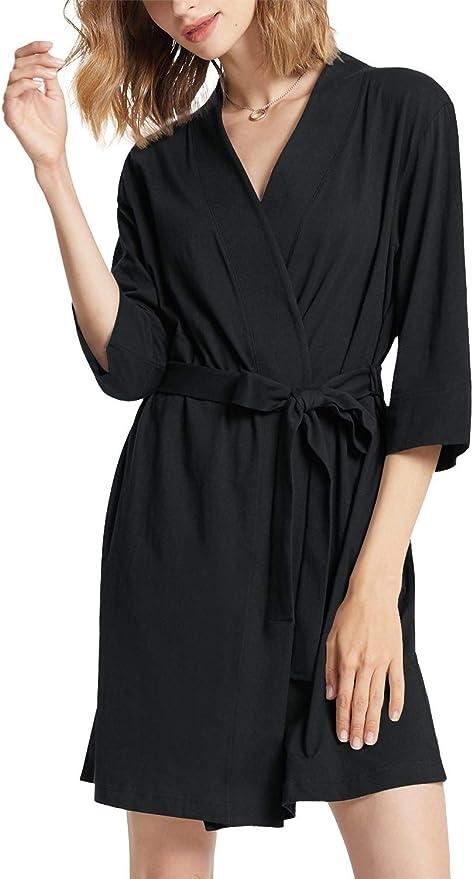Details about  /Indefini Women Kimono Robes Cotton Lightweight Long Robe Knit Soft Sleepwear Cas