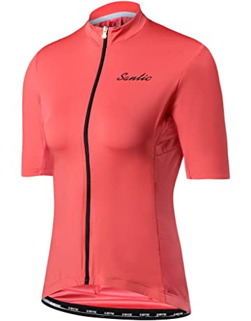 db16f0f8b Santic Women s Cycling Jersey Lady Short Sleeve Cycle Invisible Zipper  Slim-Fit Tops Purple
