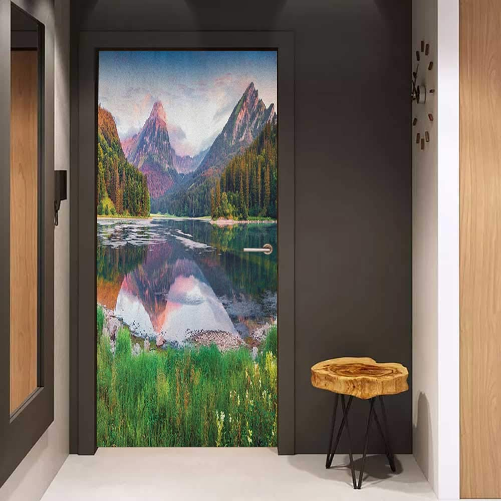 Pantry Sticker for Door Landscape Swiss Lake Obersee Near Nafels Village Switzerland Europe Scenic Summer Sunrise Sticker Removable Door Decal W36 x H79 Multicolor by Onefzc