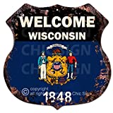 Cheap Chic Sign WELCOME WISCONSIN State FLAG Vintage Retro Rustic 11.5″x 11.5″ Shield Metal Plate Store Home Room Wall Decor Gift