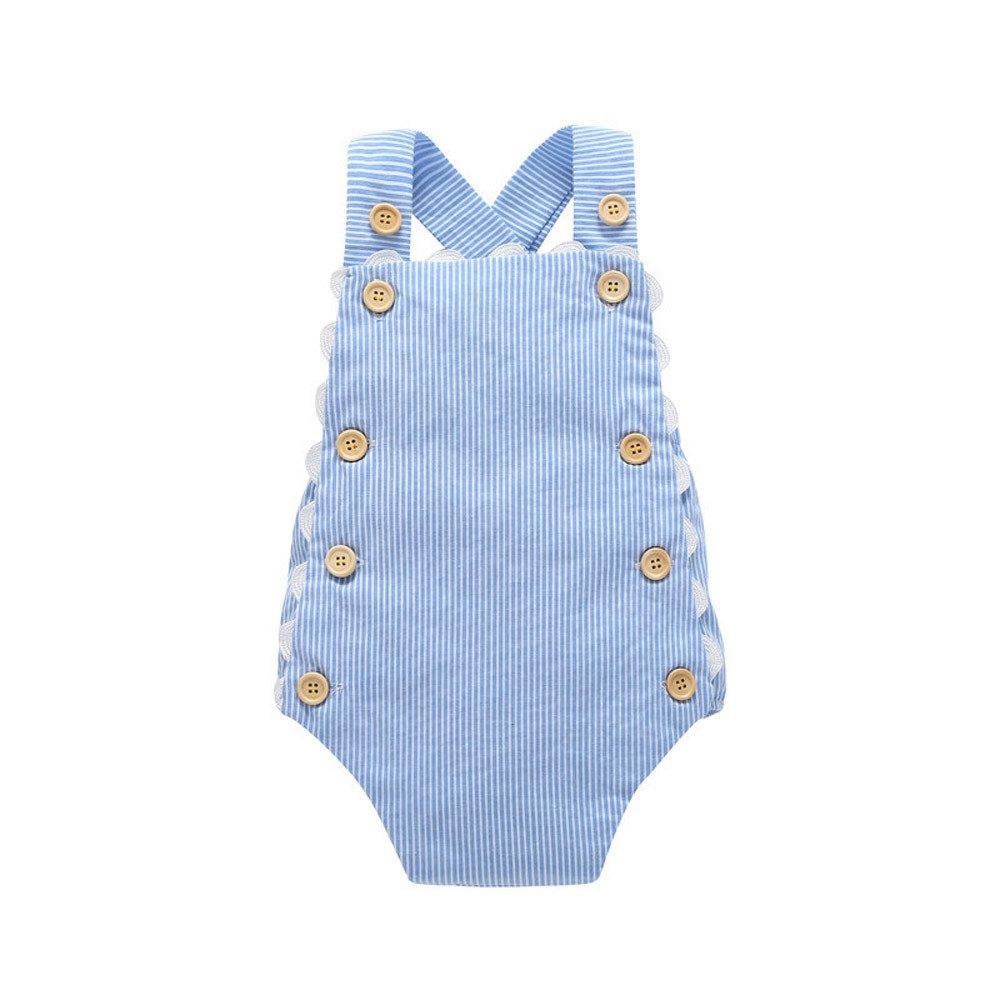 Covermason Bebé Niña Algodón Bowknot Enrejado impresión Mono Bodies (18-24M, Azul) Covermason-50