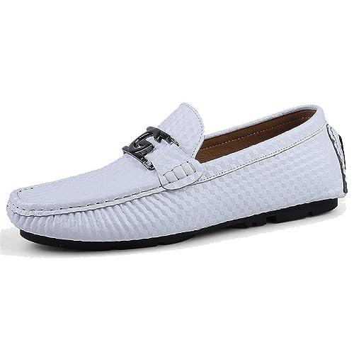 TRULAND Mocasines para Hombre en Cuero con Efecto Diamante: Amazon.es: Zapatos y complementos