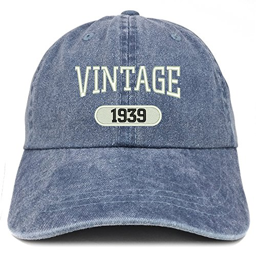 1939 Crown - Trendy Apparel Shop Vintage 1939 Embroidered 80th Birthday Soft Crown Washed Cotton Cap - Navy