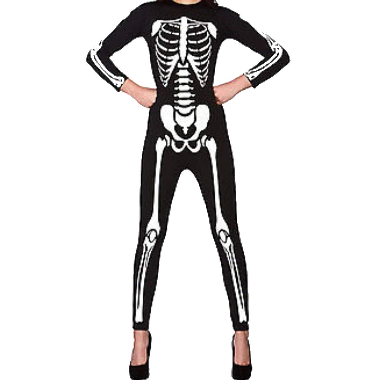 AK Apparel Womens Ladies Halloween Skeleton Bones Printed Spooky Jumpsuit Horror Scary Haunted X-Ray Playsuit Dress United Kingdom