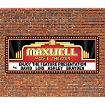 Personalized Home Theater Wall Decor Vintage Style Movie Marquee Wood Plaque Sign Neon Glow Effect Lettering Custom Wood Plaque Sign Home Theater Decor