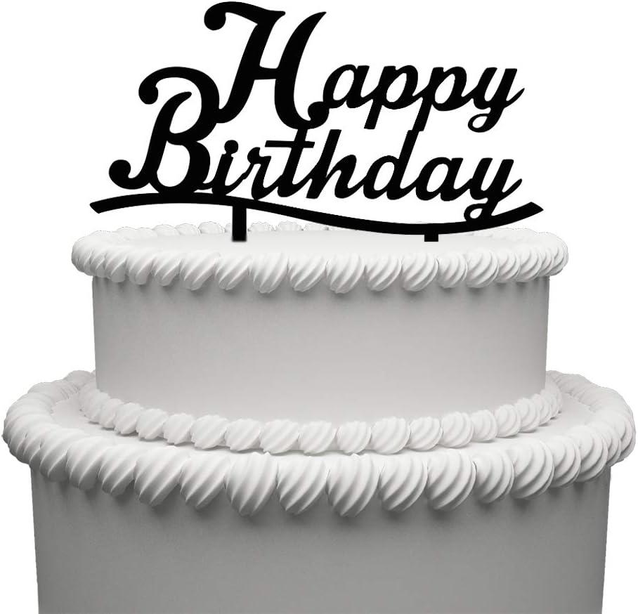 Marvelous Amazon Com Happy Birthday Acrylic Cake Topper Black Birthday Funny Birthday Cards Online Elaedamsfinfo
