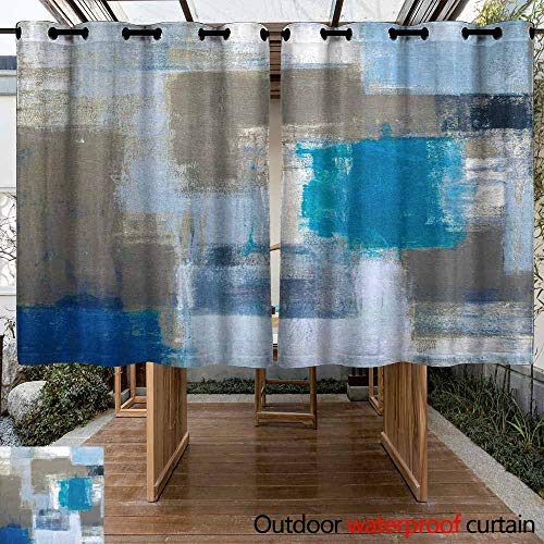 VIVIDX Outdoor Cabana Curtain - Stain Proof Awning Shade for Lawn & Garden Thermal Insulated Water Proof Patio Drape with Tab Top, 2 Panel, W55x63L